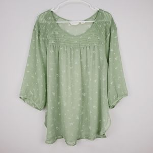 LC Lauren Conrad | sheer floral green blouse